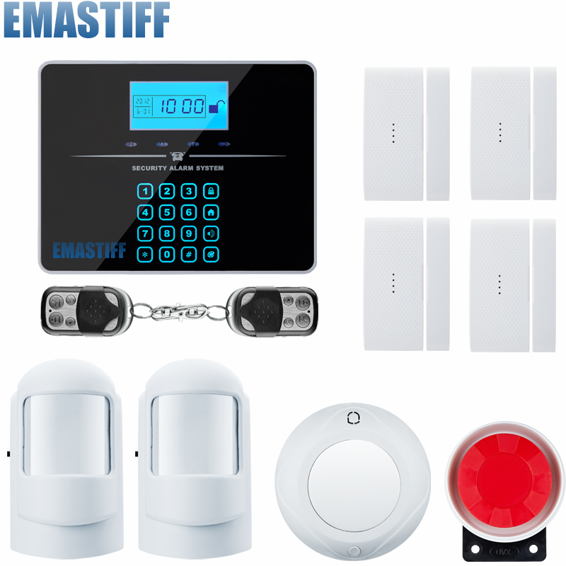 Touch LCD Home Burglar Security GSM Alarm System Voice Prompt Wireless Infrared Sensor Metal Remote Control Kit SIM SMS Alarm 433mhz dual network gsm pstn sms house burglar security alarm system fire smoke detector door window sensor kit remote control