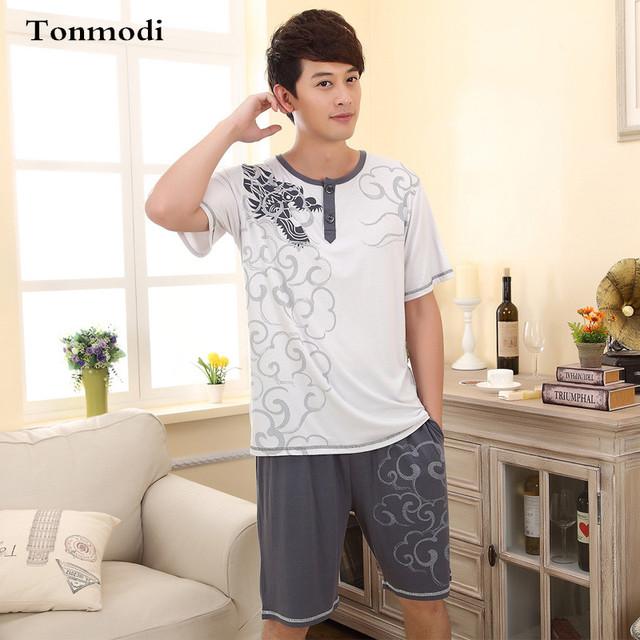 Pijamas Para Homens Verão Modal Fina-Pijamas de manga Curta Sleepwear Homens Salão conjunto de Pijama de Algodão