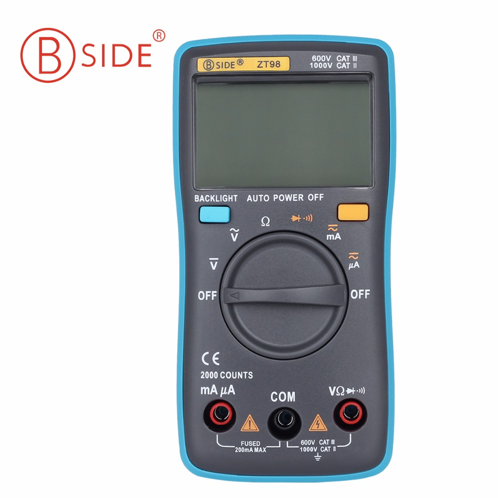 BSIDE ZT98 Digital Multimeter 2000 counts Auto Range DMM Backlight AC/DC Ammeter voltage tester Voltmeter Ohm Portable Meter bside adm04 lcd digital multimeter mini pocket 2000 counts dmm dc ac voltage current meter diode tester auto ranging multimetro