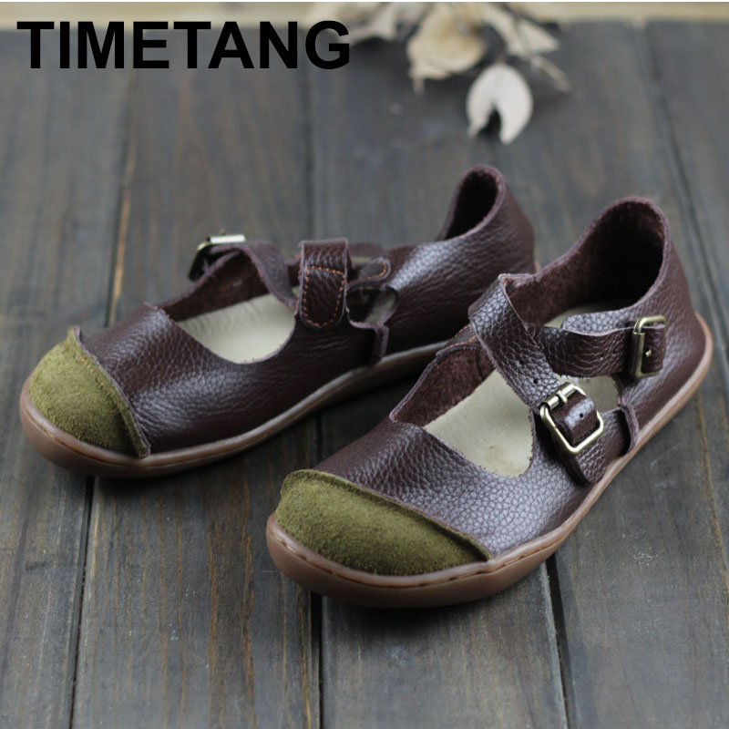 TIMETANG 2019 Ballerinas Women Barefoot Flat Shoes Women Genuine Leather Buckle Strap Ladies Shoes Flat SolesE522