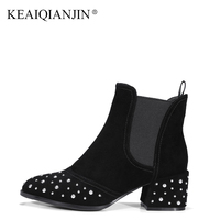KEAIQIANJIN Genuine Leather High Heeled Ankle Boots Pointed Toe Crystal Martin Boots Women Winter Autumn Black Chelsea Boots