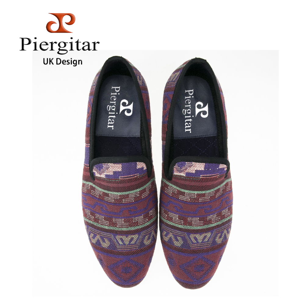Piergitar new handmade men Jacquard shoes using Korea cotton with tradtional design and mixed colors casual loafers men's flats встраиваемая газовая варочная панель korting hg 665 c2tx