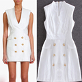 2016 New Women's European And American Minimalist White Sleeveless V-Neck Double Gold Buckle Slim Was Thin Dress
