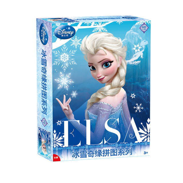 Disney Cartoon Puzzles 2018 New Children Gifts Frozen 500 Pieces Of Childrens Birthday Gift 8 Years Old Girl Toy Princess Elsa