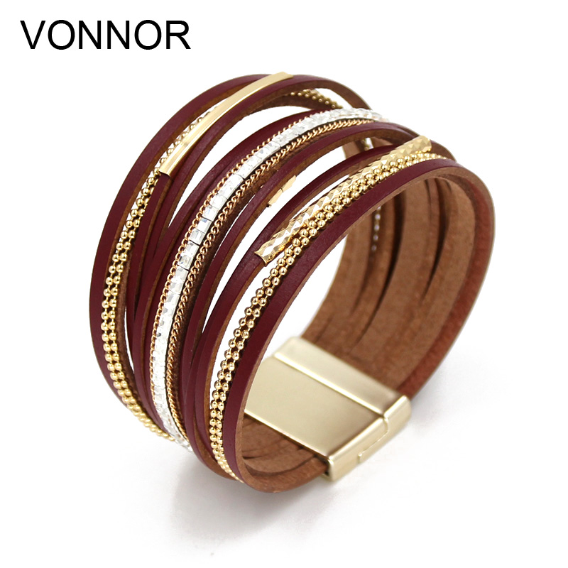 Women Bracelets Multi-layer Leather Rope Rhinestone Combination Metal Pipe Chain Bracelet Fashion Quality Jewelry Wholesale