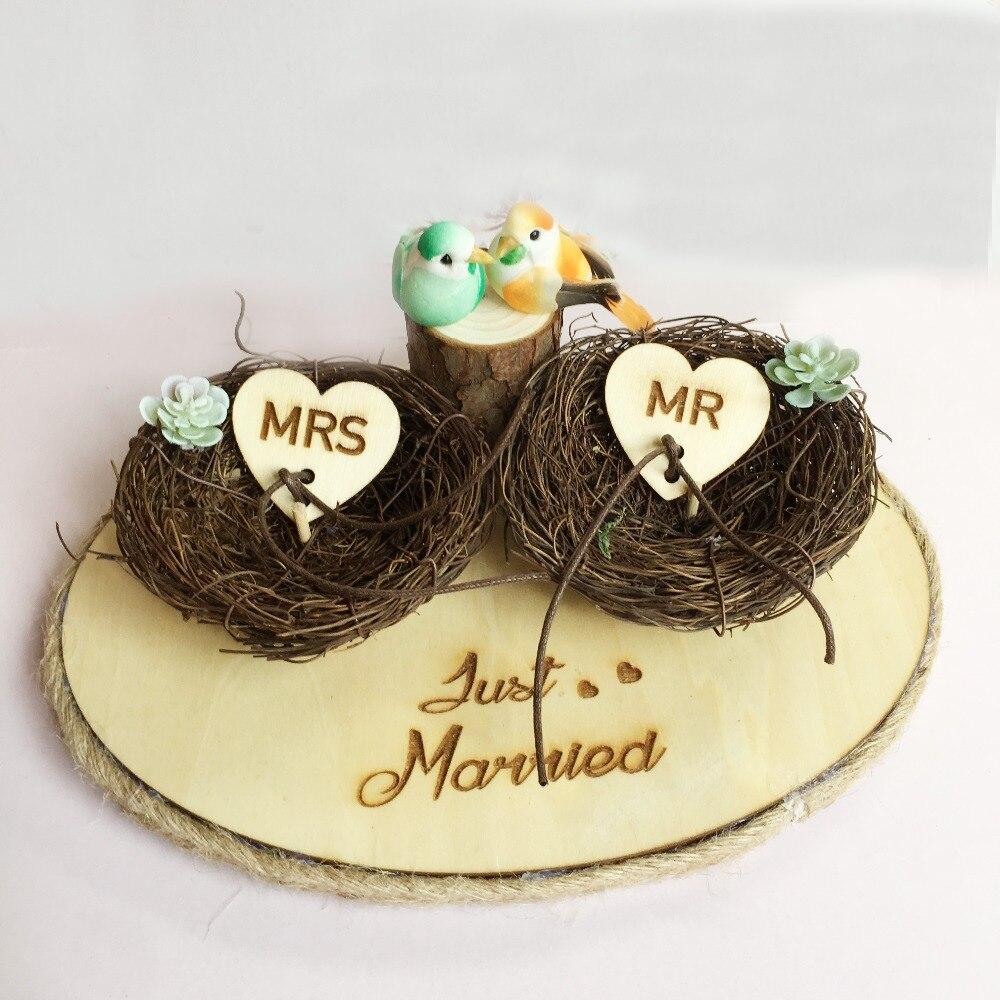 1 pièces fiançailles partie photo accessoires nid oiseau personnalisé mariage décoration nom personnalisé rustique anneau porteur boîte de support