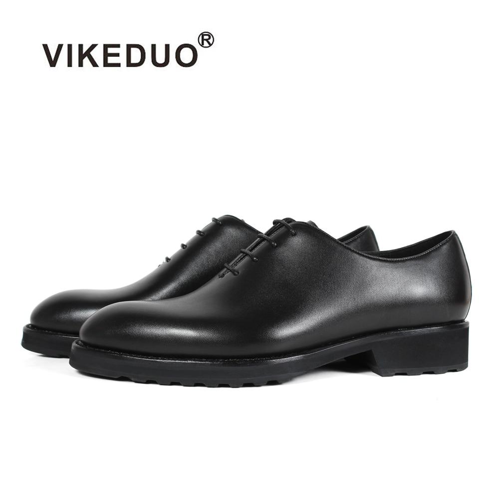 VIKEDUO Plain Black Genuine Calf Leather Dress Shoes Wedding Office Business Rubber Sole Mans Formal Footwear