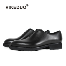 VIKEDUO Plain Black Genuine Calf Leather Dress Shoes Wedding Office Business Rubber Sole Mans Formal Footwear Luxury Men's Shoes