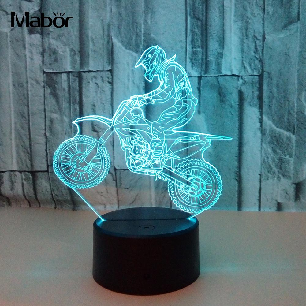 7 Color DC 5V 3D LED Night Light Motocross Bike USB Kids Boy Children Colorful Atmosphere Lamp Touch Control New Year Gift Lamp