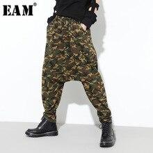 [[Eam] 2019 Mới Thu Đông Cao Co Giãn Xanh Quân Đội Ngụy Trang In Hình Rời Chéo Quần Nữ Quần Dài thời Trang JL461