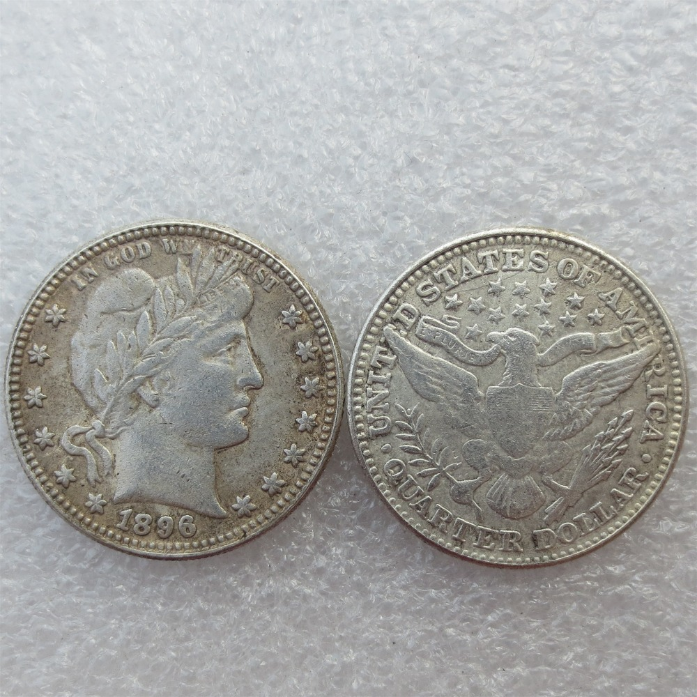 Barber Quarter Dollars Date 1896 1896O 1896S Different signs Material Silver Plated or 90% Silve Copy Coin Free Shipping