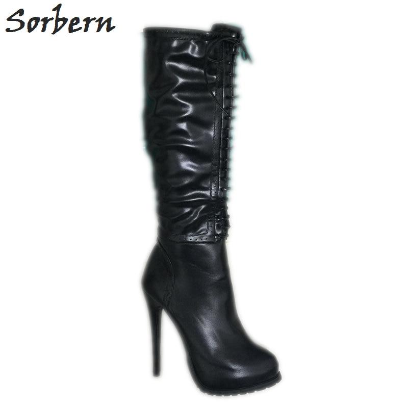 Sorbern 黒ニーハイブーツプラットフォーム靴女性の冬のハイヒール指摘トウ側ジッパーカスタムカラー大サイズ 33  46  グループ上の 靴 からの ニーハイブーツ の中 1