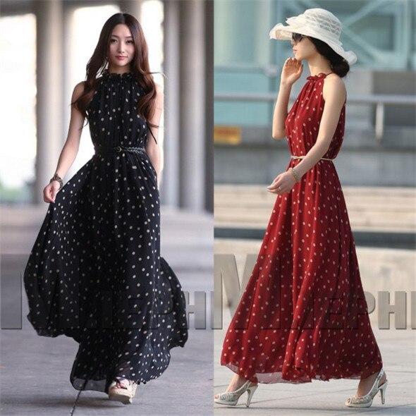 2016 Women Sexy Boho Long Maxi Evening Party Chiffon Dress Sleeveless Summer Polka Dot Dresses B3