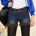 2016 Nuevo Invierno pantalones cortos de Mezclilla para Las Mujeres Botas de Lana Pantalones Cortos de Cintura Alta Pantalones Vaqueros de La Vendimia Más El Tamaño Casual Shorts Feminino Marrón, Beige