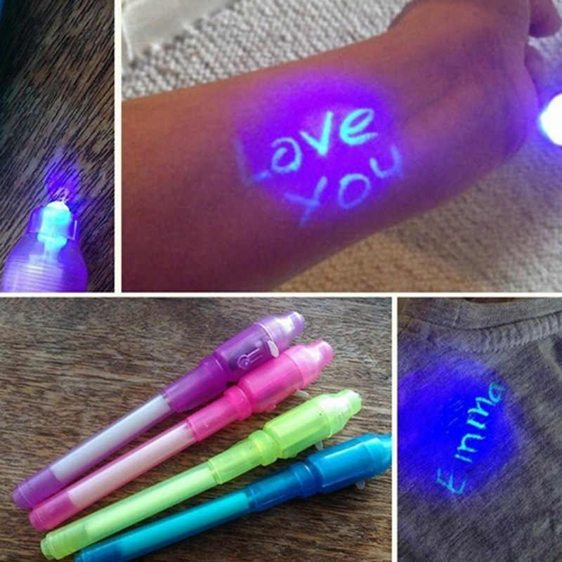 Drawing Toy Magic Pen Invisible Ink Pen Creative Stationery Highlighters 2 in 1 UV Black Light Combo Invisible Ink Pen Drawing