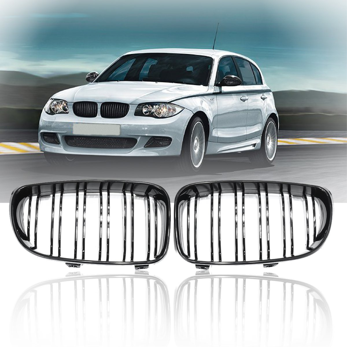 Pair New Gloss Black 2 Double Slat Line Front Kidney Racing Grill Grille For BMW E87 1 Series 2008 2009 2010 2011 2012 2013Pair New Gloss Black 2 Double Slat Line Front Kidney Racing Grill Grille For BMW E87 1 Series 2008 2009 2010 2011 2012 2013