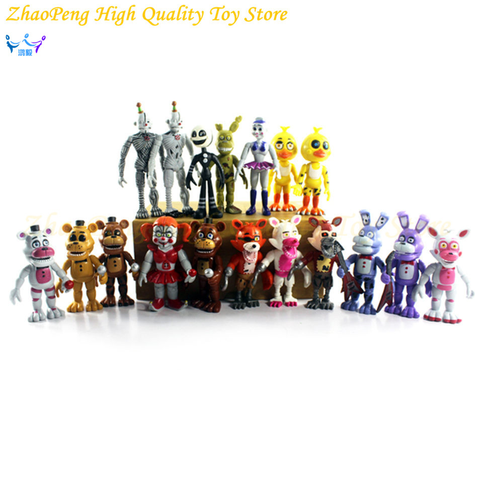 18Pcs / lot FNAF Five Nights At Freddy's Søster Location Circus Funtime Foxy Ballora Marionet Freddy Bonnie Action Figur Kids Toy