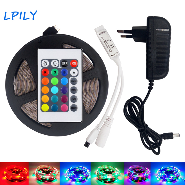 IPILY RGB LED Strip light 5 10 15 20 m 2835 rgb led tape 3528 dc12v power supply non Waterproof with 24 key controller IP20 IP65