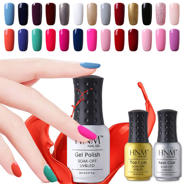 HNM 8ml Soak Off UV Gel Nail Polish Wholesale Price Gel Nails Lacquers Gel Colors Manicure Top Base Coat Free Tip Guides