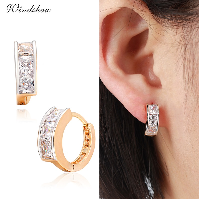 Gold Color Channel Pave Princess Cut CZ Hoop Earrings For Children