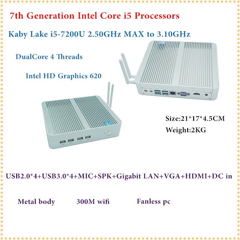 Intel Kaby Lago Core i5 7200U Mini PC Windows HDMI + VGA Mini PC i3 i5 minipc 4 K HD HTPC Intel HD Graphics 620 PC Fanless