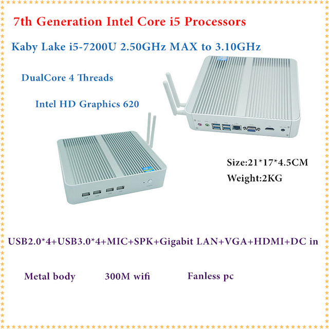 Intel Kaby Lake Core i5 7200U Mini PC Windows HDMI+VGA Mini PC i3 i5 minipc 4K HD HTPC Intel HD Graphics 620 Fanless PC