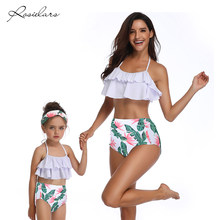 Purchase 2019 ROSIELARS Family Matching Swimsuit Women and Girls Ruffled Floral Two Piece Swimwear Bathing Bikini High Waist Beachwear occupation