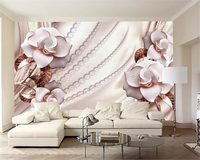 Beibehang Custom Wall Paper High Quality Gold Jewelry Flowers Photo Wallpaper Modern Home TV Background Wallpaper