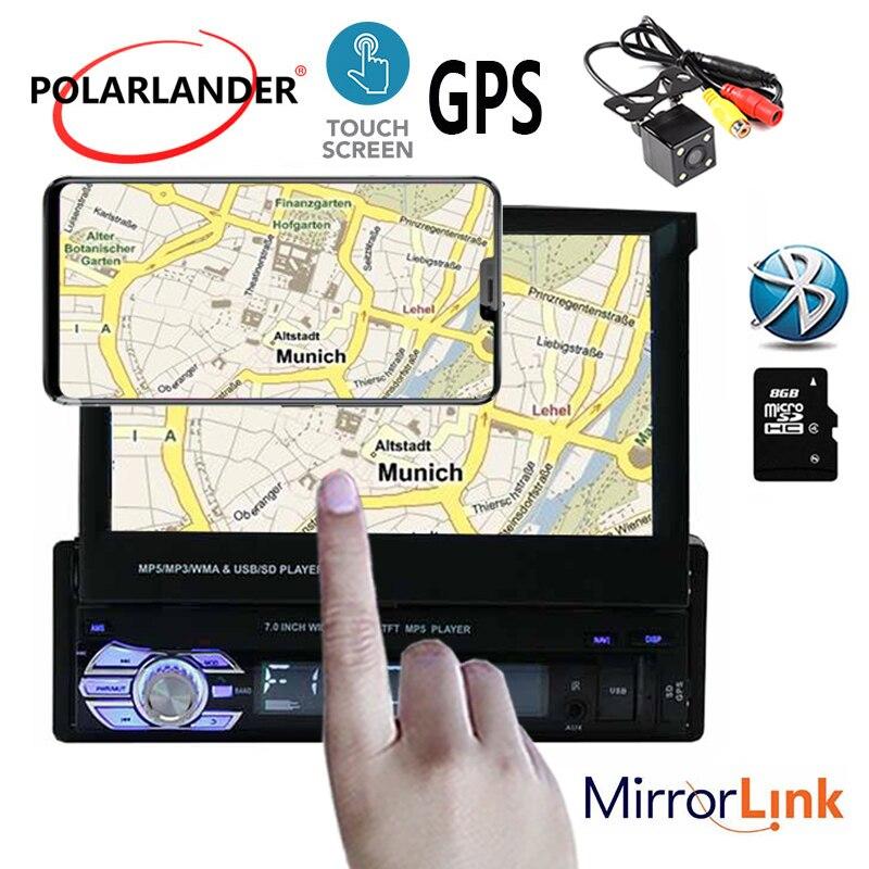 Lecteur radio voiture écran tactile 1 din bluetooth MP5 12 multi-langue GPS stéréo FM USB TF vidéo 7 pouces lien miroir - 3