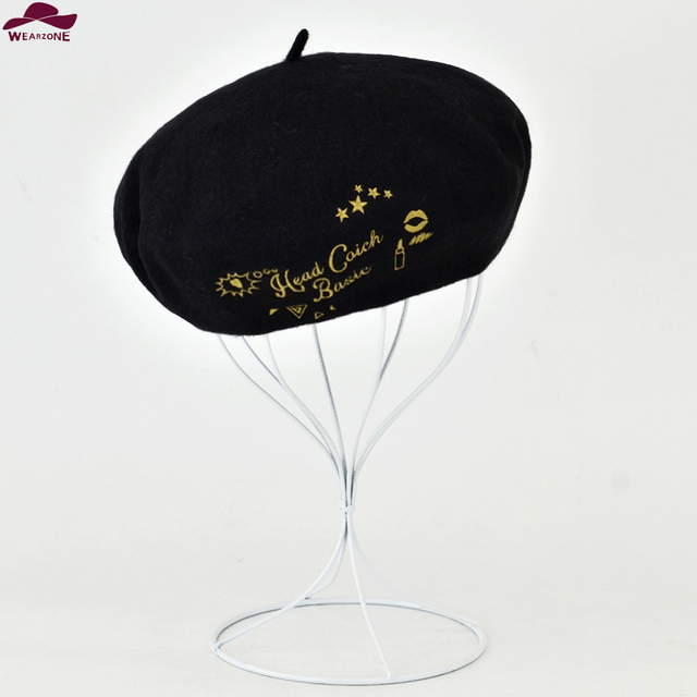 e96729ffba1ae New Winter women hat Vintage Beret Wool Gold sew Embroidery pillbox hat  gorras planas hombre Hat