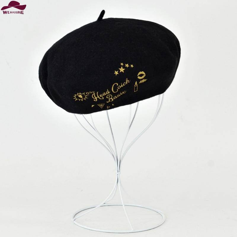 Nuevas mujeres del invierno del sombrero del Vintage Beret lana oro coser  Bordado Pillbox sombrero gorras planas hombre sombrero de la boina boinas  mujer ... b6fbb74b786