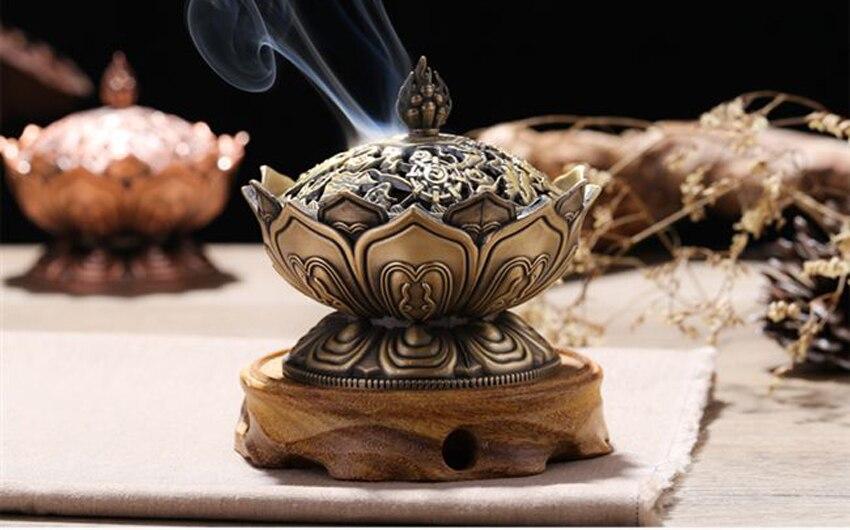 ERMAKOVA китайский сплав Будда благовония горелка цветок лотоса ладан держатель курильница для буддистского домашнего офиса украшения подарок
