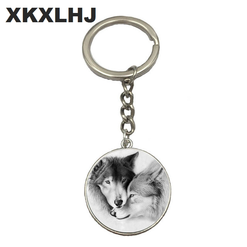 HOT! Wolf Moon Keychain Wolf Moon Cabochon Glass Product Keyring Full Moon Jewelry Wolf Pendant Wolf Key Chain Ring