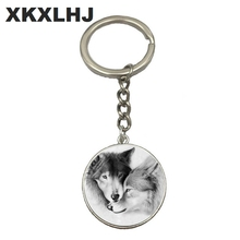 HOT! Wolf Moon Keychain Cabochon Glass Product Keyring Full Jewelry Pendant Key Chain Ring