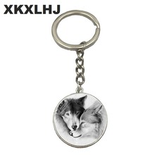 HOT! Wolf Moon Keychain Wolf Moon Cabochon Glass Product Keyring Full Moon Jewelry Wolf Pendant Wolf Key Chain Ring(China)