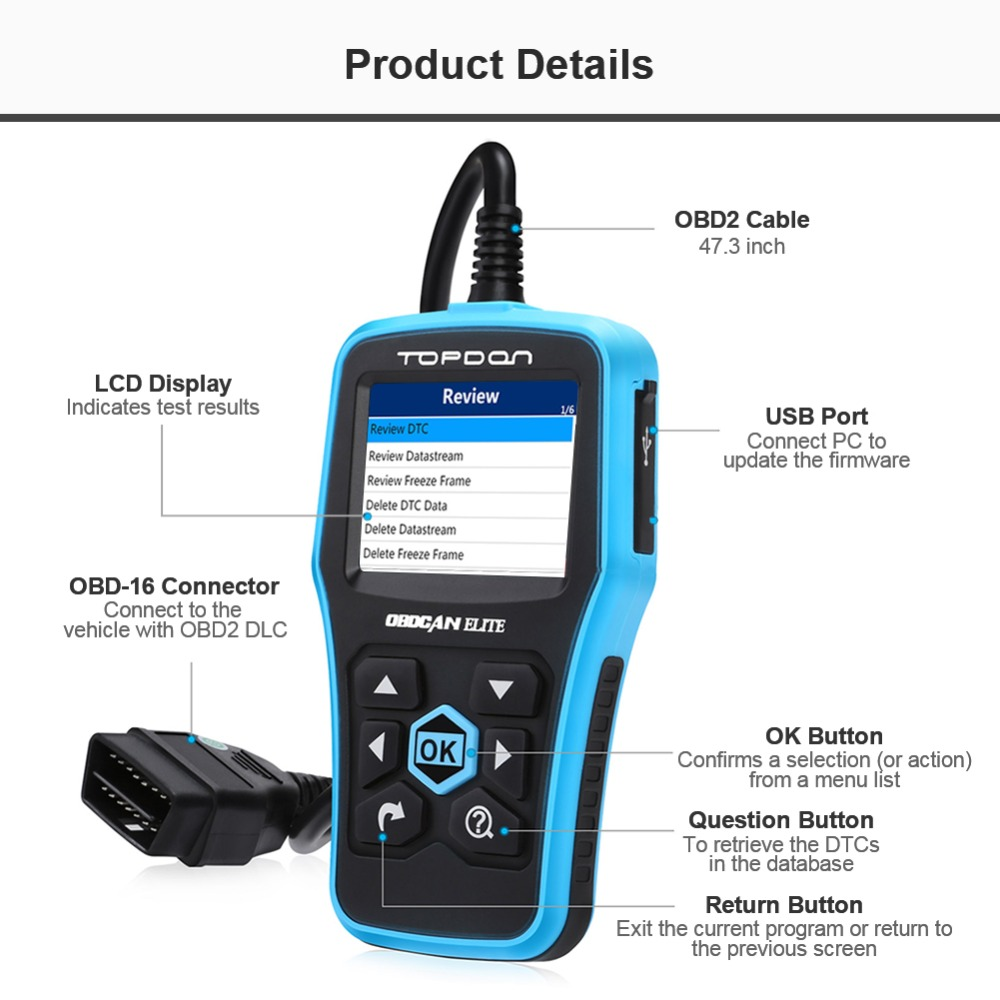 Topdon OBD2 Reader Plus 3.0 CAN Diagnostic Scan Tool Full OBDII Functions in Graphical Display DTC Lookup MIL Turn-off plus Data Printing Free Upgrade