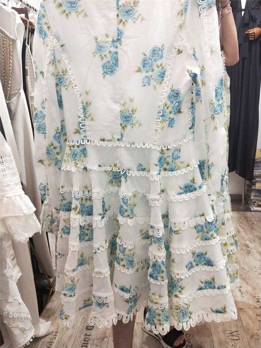 Sexy UM Vestido De Linha V Neck Chic Celebridade Partido Flowear Imprimir Vestidos Verão 2018 Nova Mulheres Vestidos Oco Out Lace vestido pista - 5