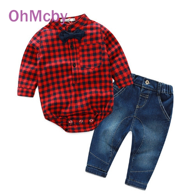 Hot New Long sleeve Red Plaid Rompers Shirts and Jeans Trousers Set Fashion Baby Boys Clothes Bebe Clothing Set