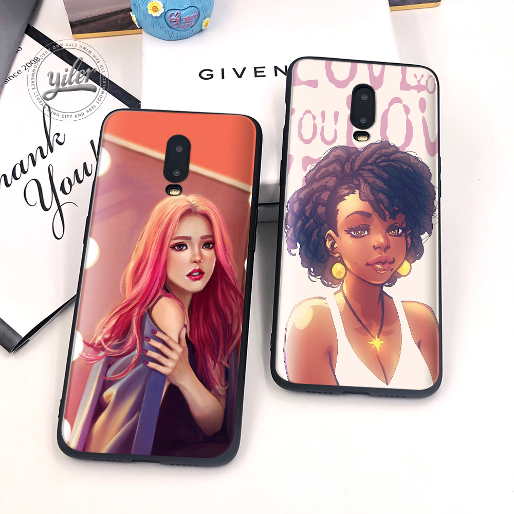 2019 New Nice girls For Case Oneplus 6T Pretty shiny girl Black Cover for Funda Oneplus 7 Phone Cases for Oneplus 6T 1 6T 7 Capa in Fitted Cases from Cellphones Telecommunications