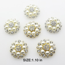 New 10pcs lot 1.1 in Snap Button Jewelry Metal Pearl Buttons Dress Flat  Embellishment for 0353501654ab