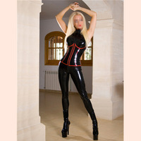 Europe New arrival woman's Sexy cosplay game uniforms Black PVC imitation leather jumpsuits Red cosplay costumes for Female