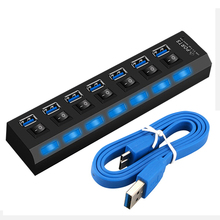 USB HUB High Speed 5Gbps 7 Port 3.0 Hub with Switch USB Splitter 3 hab with Power Adapter Multiple USB 3.0 Hub for PC Laptop