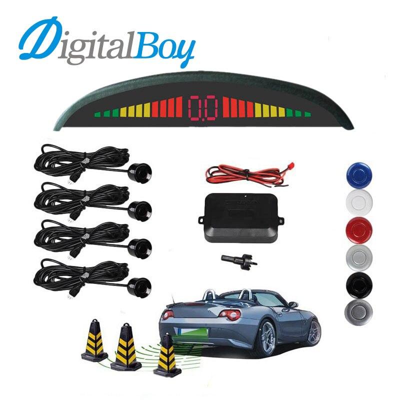Car Auto Parktronic Sensor LED Backlight Display Reverse Backup Car Parking Radar Monitor Detector System with 4 Sensors