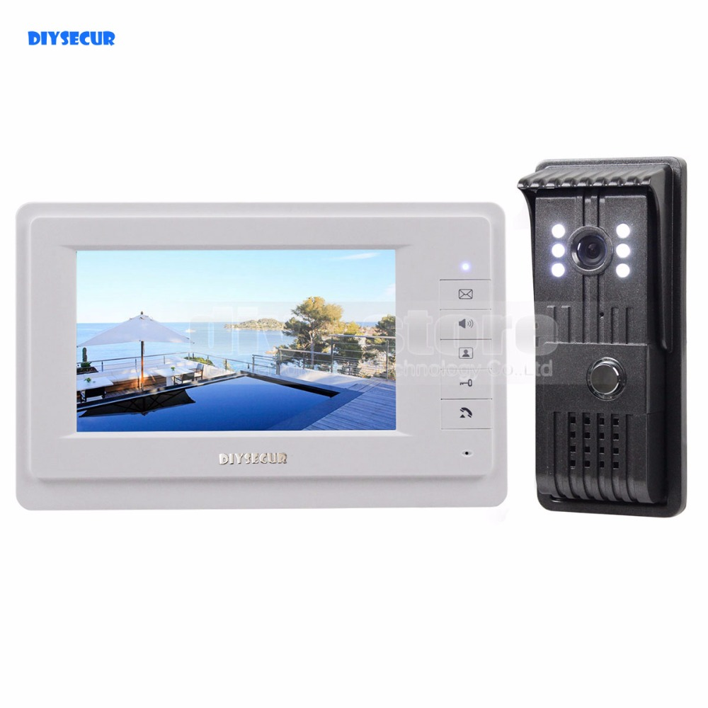 DIYSECUR Aluminum Alloy Camera High Quality 7 inch TFT Color LCD Display Video Door Phone Intercom Doorbell Night Vision 7 inch video doorbell tft lcd hd screen wired video doorphone for villa one monitor with one metal outdoor unit night vision