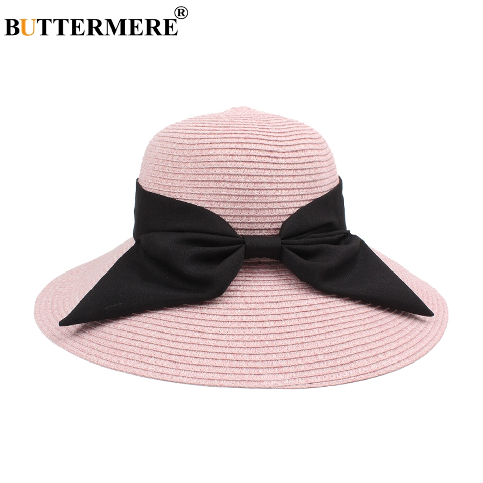 BUTTERMERE Paper Straw Sun Hats For Women Pink Uv Bucket Caps Female Elegant Bowknot Summer Casual Beach Hats Ladies New 2019