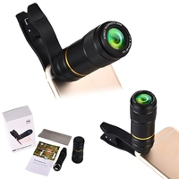 Universal Portable Mobile Phone Camera Lens 90 Degree 12X Zoom Telephoto Monocular Lens Clip On Clear