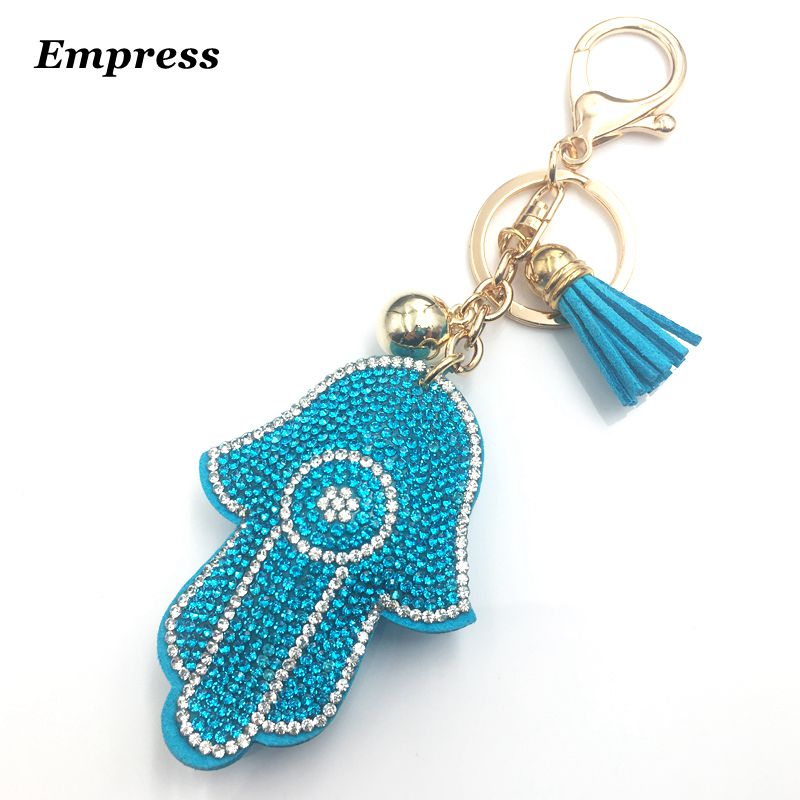 Luxurious full rhinestone hand key chain leather tassel pendant gold key palm design woman bag pendant jewelry