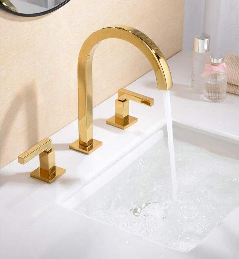 Robinet de lavabo en laiton pour salle de bain robinet de pulvérisation en laiton mitigeur évier double poignée chaude et froide 3 trous support de pont en or Rose