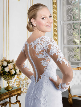 Sheer O-neck Long Sleeve Mermaid Wedding Dress 2019 See Through Illusion Back White Bridal Gowns with Lace Appliques 5