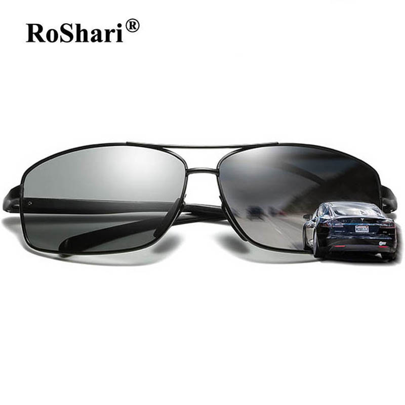 RoShari Descoloridos óculos de sol dos homens de Alumínio E Magnésio óculos  polarizados Fotocromáticas óculos de 173e9a754e